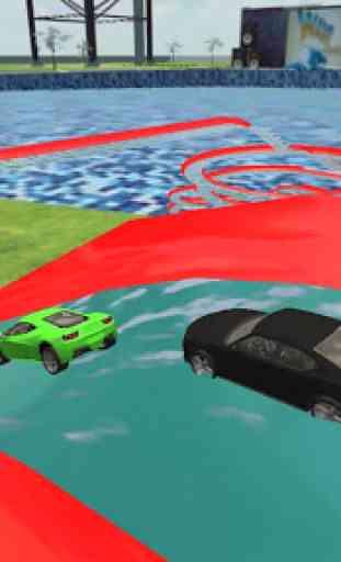 Water Park Car Race : Frozen Aqua Water slide Race 2