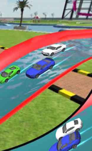 Water Park Car Race : Frozen Aqua Water slide Race 4