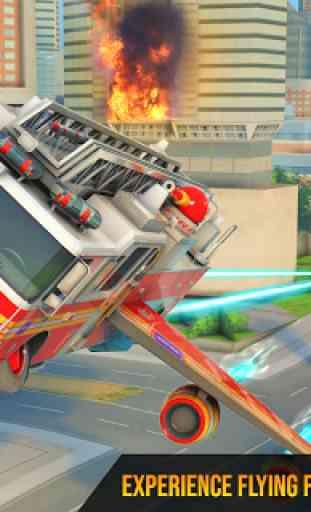 Flying Firefighter Truck Transform Robot Games 2