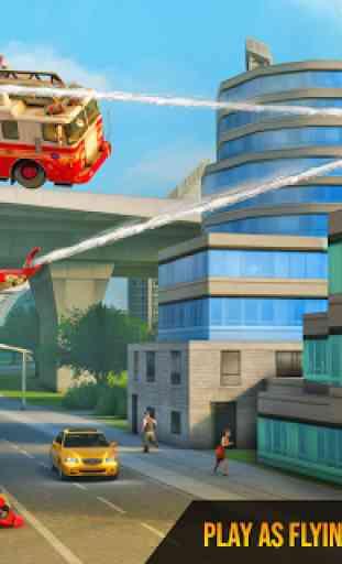 Flying Firefighter Truck Transform Robot Games 3
