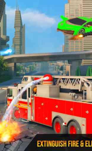 Flying Firefighter Truck Transform Robot Games 4
