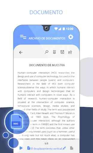 Visor de todos documentos: Office suite Doc Reader 2