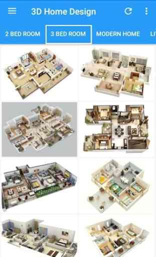 3D Home Designs: Plan de Casa Designs y vídeos 3