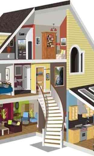 Diseño de Casa, Techo, Plan 3D Completo 2
