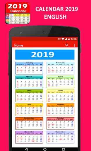 Calendar 2019 English 1