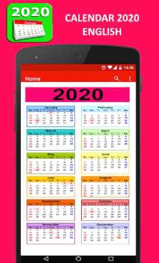 Calendar 2019 English 2