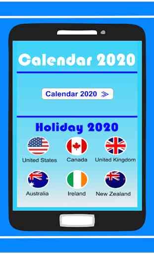 Calendar in English 2020 Free 1