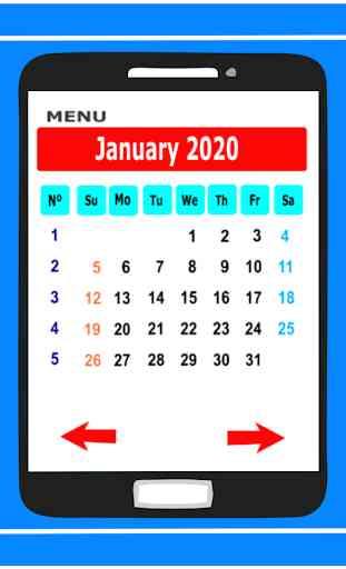 Calendar in English 2020 Free 3