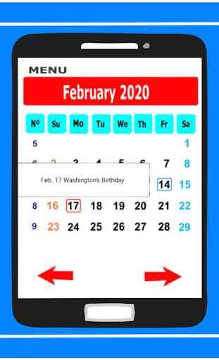 Calendar in English 2020 Free 4