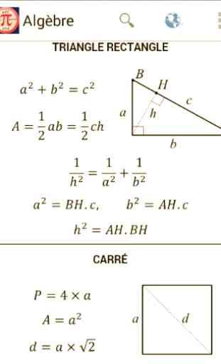 Fonctions et Formules mathématiques 1