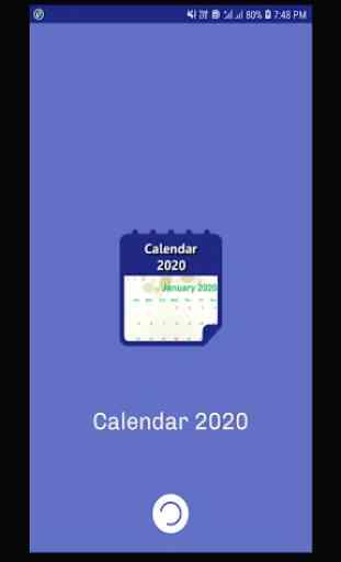 Calendar 2020 & Holidays 1