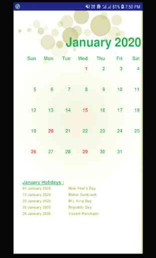 Calendar 2020 & Holidays 4