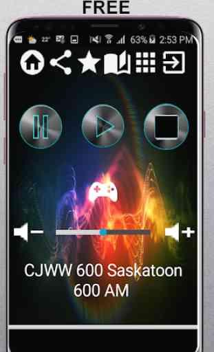 CJWW 600 Saskatoon 600 AM CA App Radio Free Listen 1